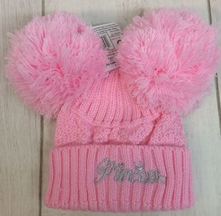 Double Pom Pom Hat with Embroidery